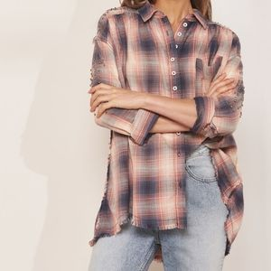 Free People Take On Me Buttondown Plaid Studded Sh